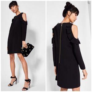 NWT Ted Baker Cold Shoulder Ruffle Black Dress